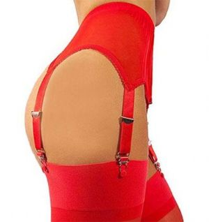 6 Strap Suspender Belt in Red Power Mesh